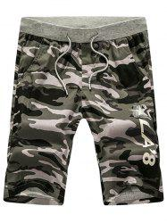 Graphic Print Drawstring Camouflage Shorts