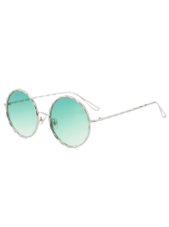 Round Ombre Wavy Metal Frame Leg Sunglasses -