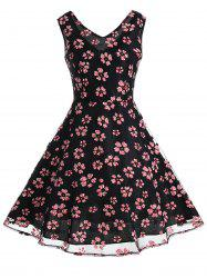 Vintage Mesh Panel Floral Fit and Flare Dress