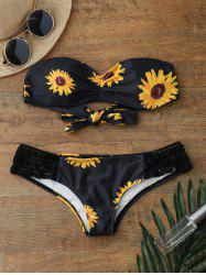 Sunflower Bandeau Padded Strapless Bathing Suit Bikini - BLACK