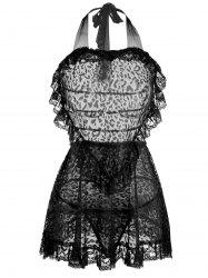 Lace Ruffles Backless Intimate Halter Dress