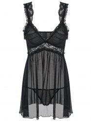 Intimate Lace Panel Sheer Slip Dress