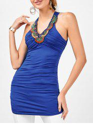 Longline Embellished Ruched Criss Cross Tank Top - ROYAL XL