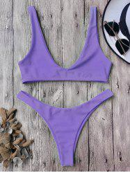 High Cut Scoop Neck Bikini Set -