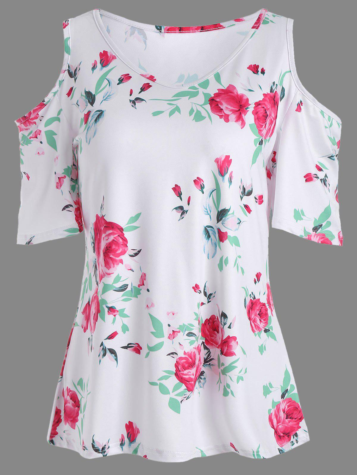 Discount Floral Print Cold Shoulder V Neck Tee