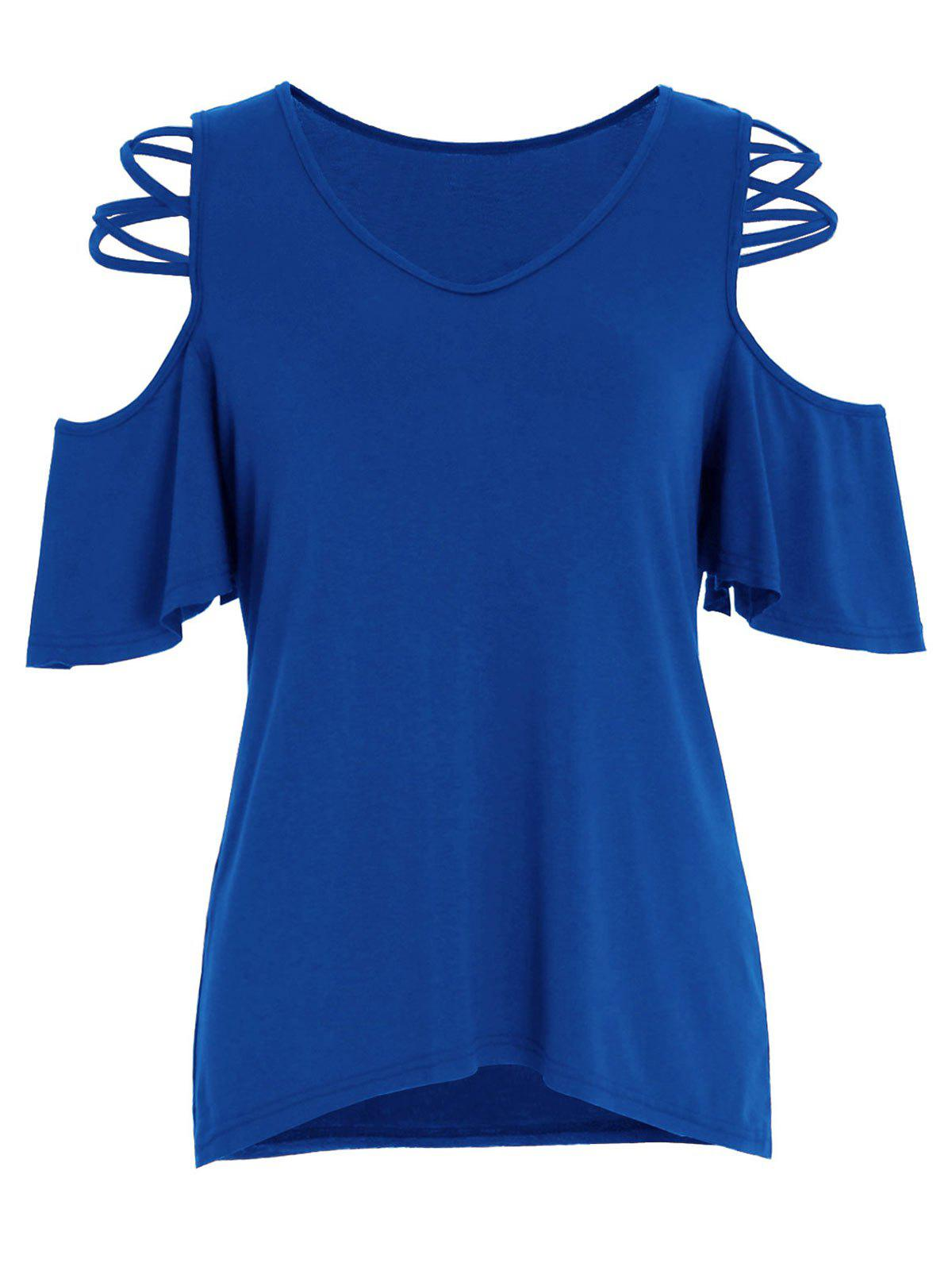 New Criss Cross V Neck Cold Shoulder Top