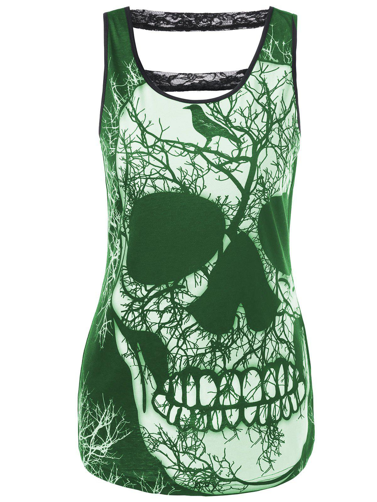 Latest Lace Panel Cut Out Skull Tank Top