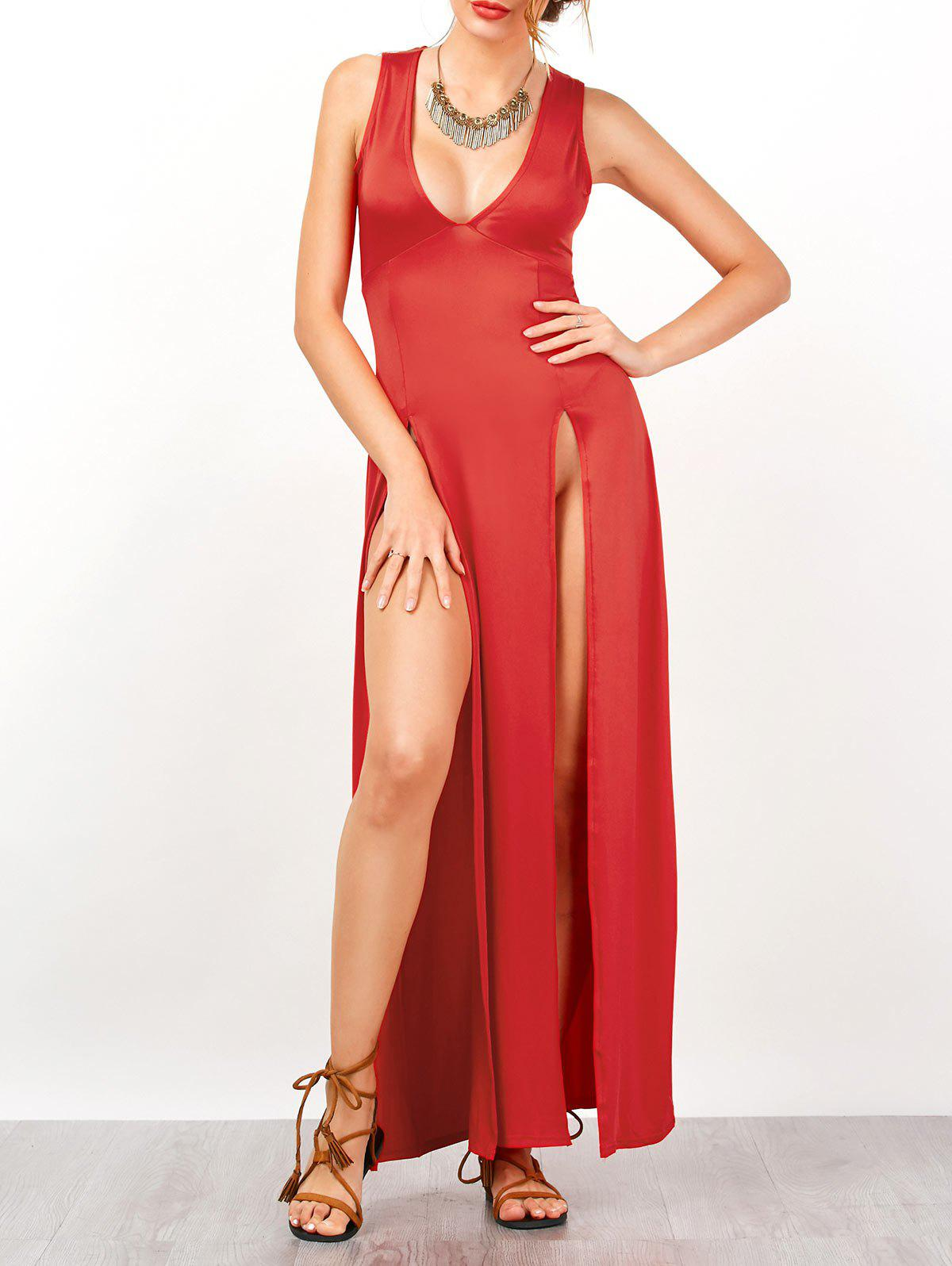 2018 Empire Waist Nightclub Two Side Split Maxi Dress In