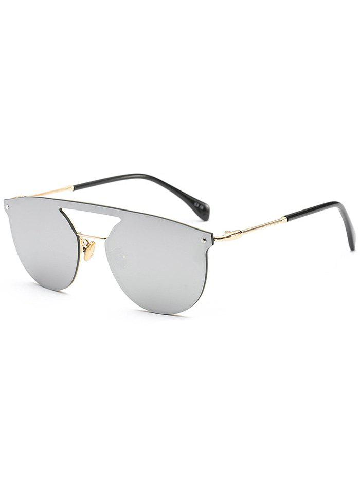 d01eb03fa7d Fashion Mirror Invisible Frame Hollow Out Crossbar Sunglasses