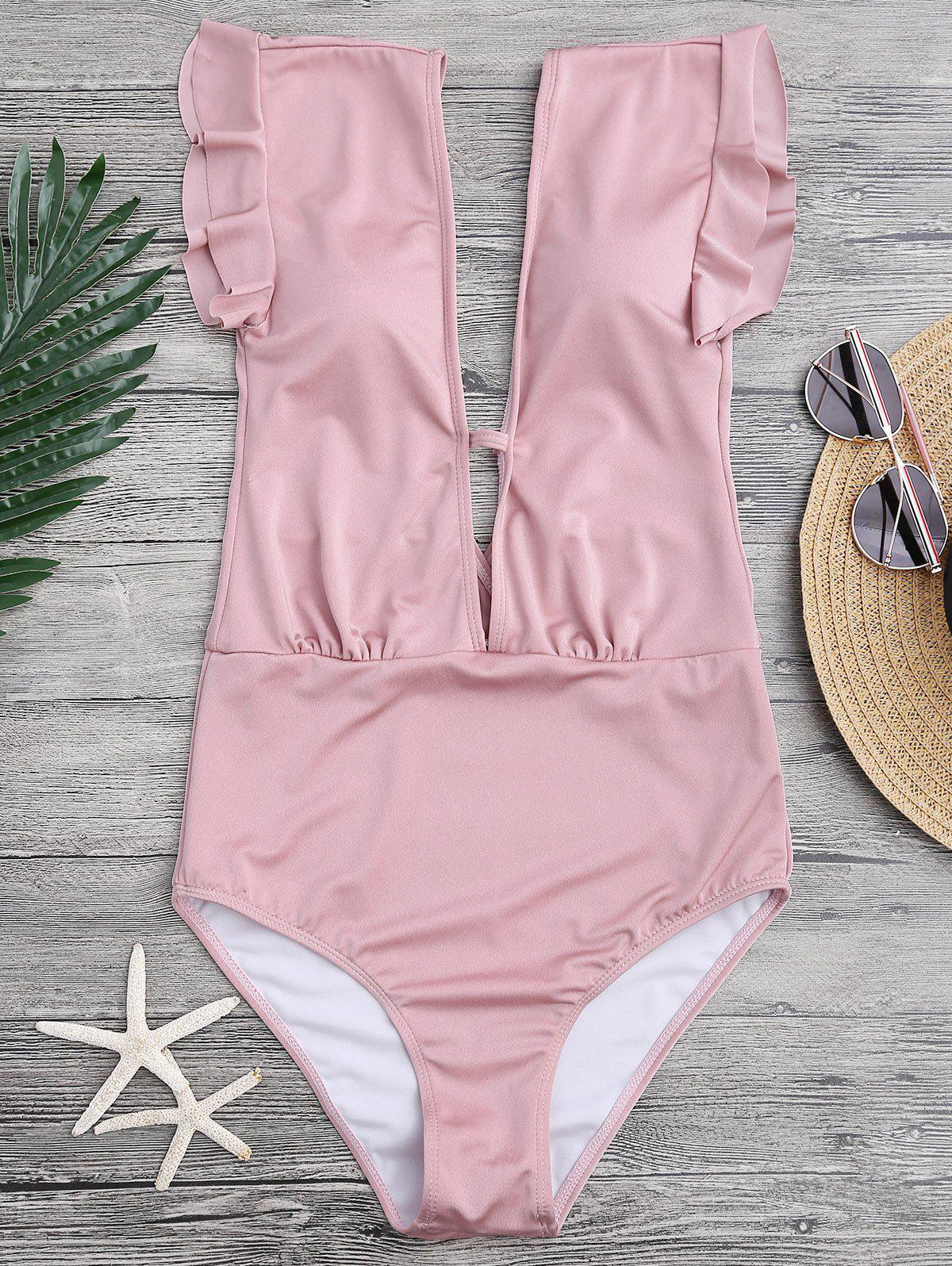 602a036ff74 40% OFF] Frilled One-piece Plunge Swimsuit | Rosegal