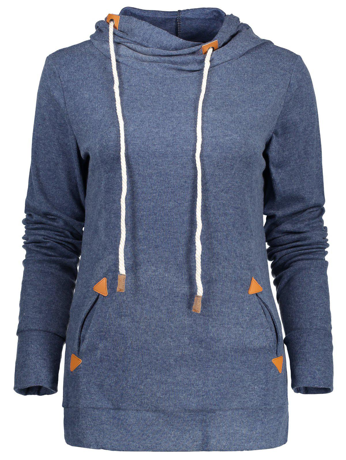 Stylish Hooded Long Sleeve Draped Spliced Womens HoodieWOMEN<br><br>Size: L; Color: BLUE; Material: Polyester; Shirt Length: Regular; Sleeve Length: Full; Style: Fashion; Pattern Style: Patchwork; Weight: 0.365kg; Package Contents: 1 x Hoodie;