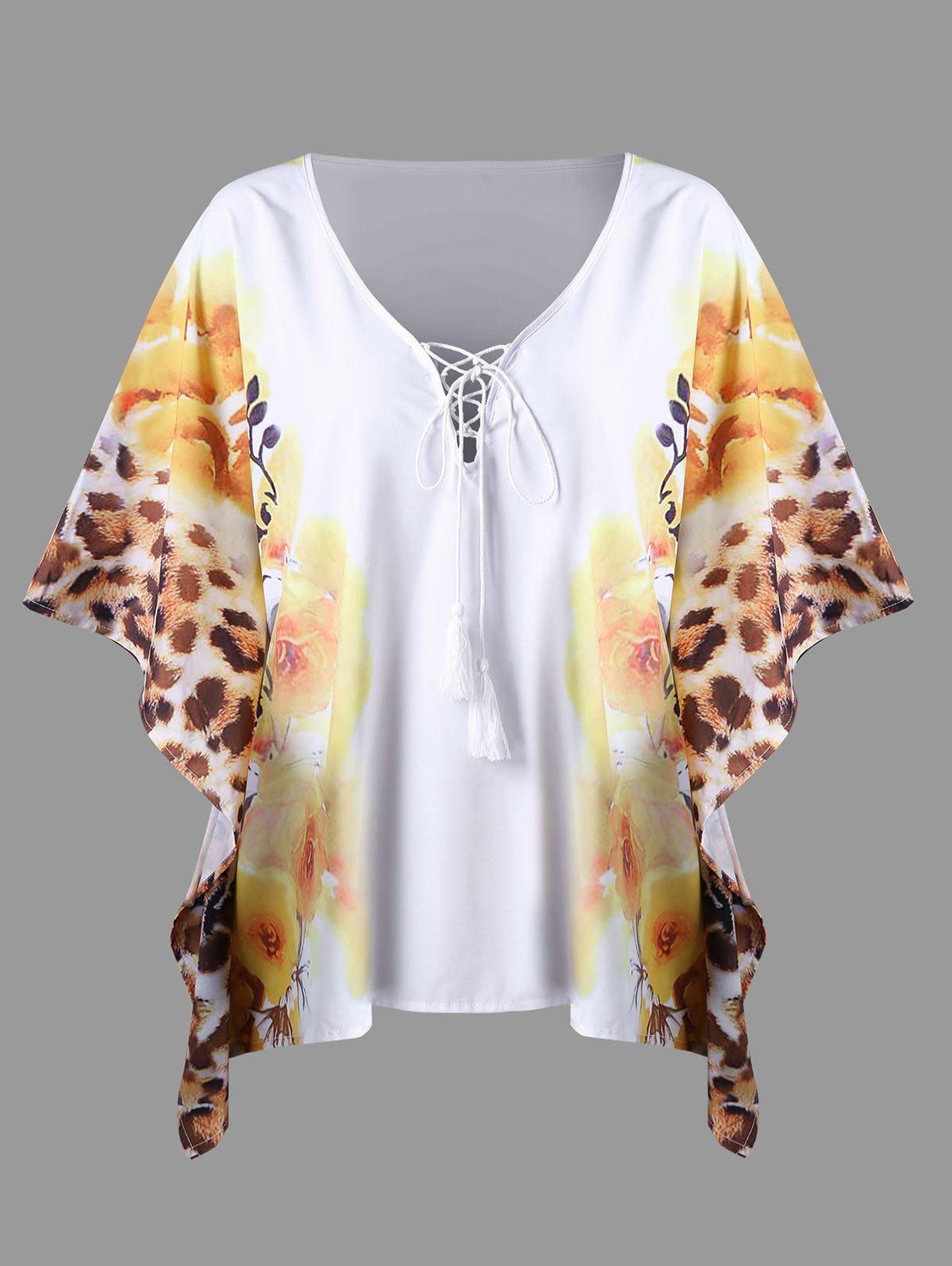 Chic Plus Size Floral Butterfly Sleeve Top