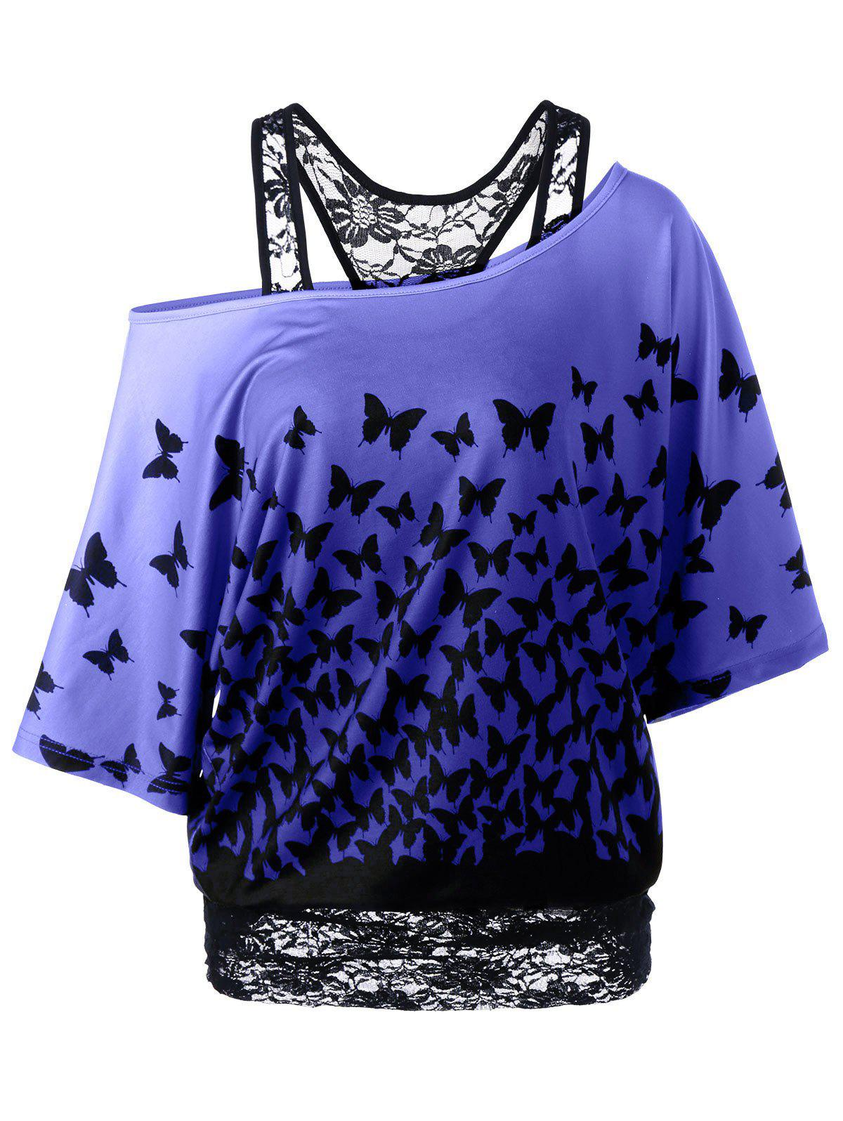 Latest Skew Collar Racerback Butterfly Print T-Shirt