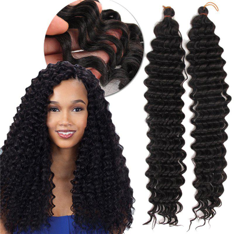 Wand Curl  Pre Loop Crochet Long Hair ExtensionsHAIR<br><br>Color: BLACK; Hair Extension Type: Hair Weft; Style: Curly; Fabric: Heat Resistant Synthetic Hair; Length: Long; Weight: 0.1000kg; Package Contents: 1 x Hair Extension; Length Size(Inch): 20;