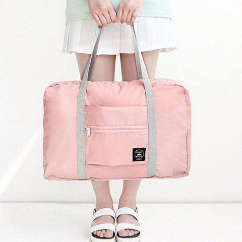 Foldable Waterproof Nylon Carryall BagSHOES &amp; BAGS<br><br>Color: PINK; Handbag Type: Shoulder bag; Style: Casual; Gender: For Women; Pattern Type: Solid; Handbag Size: Medium(30-50cm); Closure Type: Zipper; Occasion: Versatile; Main Material: Nylon; Weight: 1.2000kg; Size(CM)(L*W*H): 48*16*32; Package Contents: 1 x Carryall Bag;