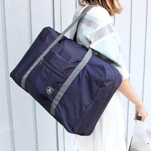 Foldable Waterproof Nylon Carryall BagSHOES &amp; BAGS<br><br>Color: DEEP BLUE; Handbag Type: Shoulder bag; Style: Casual; Gender: For Women; Pattern Type: Solid; Handbag Size: Medium(30-50cm); Closure Type: Zipper; Occasion: Versatile; Main Material: Nylon; Weight: 1.2000kg; Size(CM)(L*W*H): 48*16*32; Package Contents: 1 x Carryall Bag;