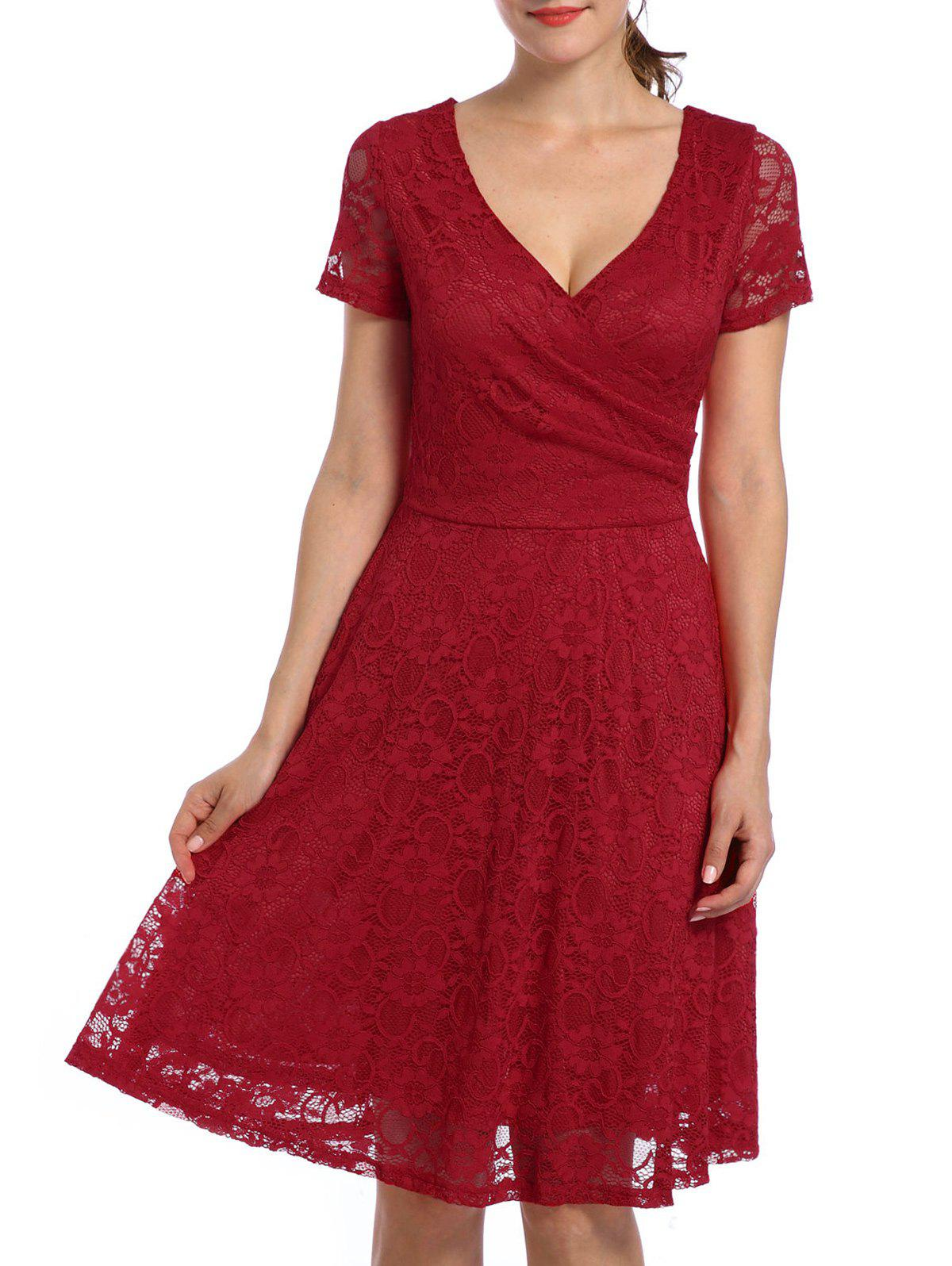 Online Lace High Waist Surplice Cocktail Dress