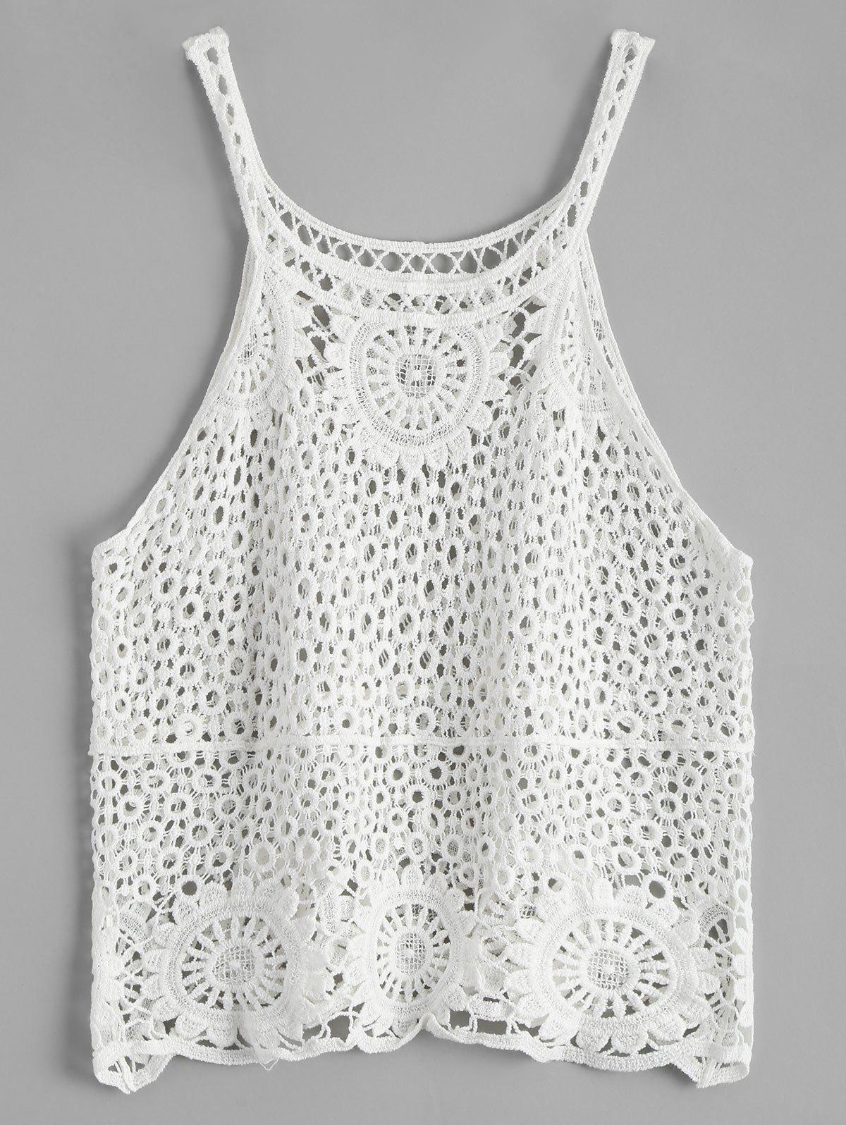 Latest Crochet Lace See Through Openwork Tank Top
