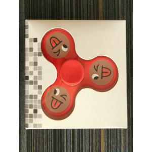 Smiling Face Stree Relief Focus Toy Triangle Fidget Spinner - BRIGHT RED