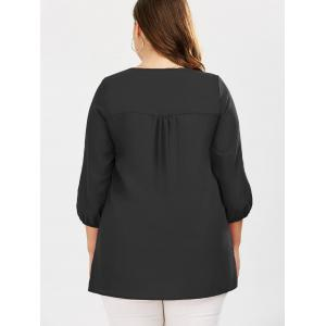 Plus Size Embroidered Rhinestone Tunic Blouse -