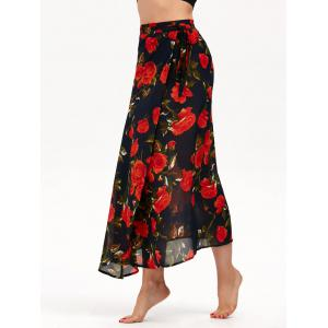 Floral Print High Waisted Chiffon Wrap Skirt