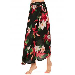 Lilies Flower High Waisted Chiffon Wrap Jupe - Noir TAILLE MOYENNE