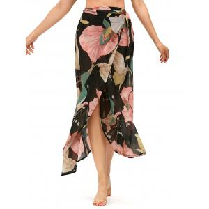 Lotus Leaf High Waisted Chiffon Wrap Skirt