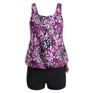 Plus Size Blouson Print Tankini - Purple - 2xl