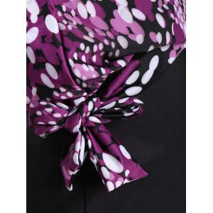 Plus Size Blouson Print Tankini - PURPLE 2XL