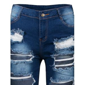 Ripped Denim Knee Length Bermuda Shorts - DEEP BLUE XL