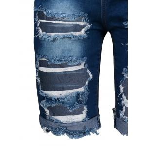 Ripped Denim Knee Length Bermuda Shorts - DEEP BLUE M