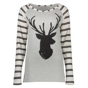 Stripe and Elk Printed Raglan Sleeve T-Shirt