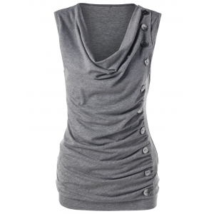 Single Breasted Sleeveless Cowl Neck T-Shirt
