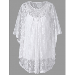 Plus Size Butterfly Sleeve Lace Blouse and Camisole - White - 3xl