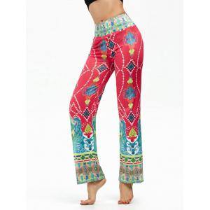 Ethnic Print Elastic High Waisted Boho Pants
