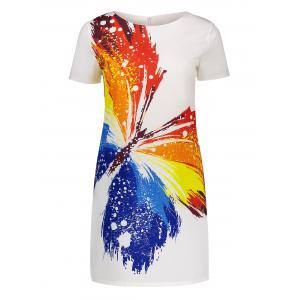 Short Sleeve Mini Butterfly Print Dress