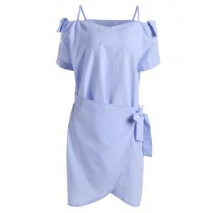 Self Tie Tulip Hem Cuffed Sleeve Dress