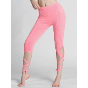 High Waisted Lace Up Gym Leggings - Pink - L