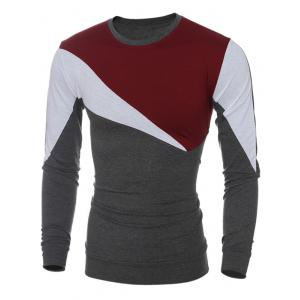Long Sleeve Color Block Irregular Panel T-Shirt