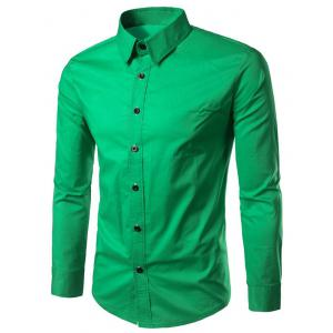 Long Sleeves Button Up Shirt - Green - Xl