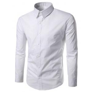 Long Sleeves Button Up Shirt - White - M