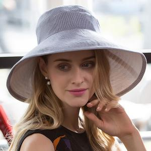 Cotton Blended Pinstripe Big Floppy Sun Hat -