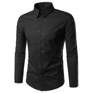 Long Sleeves Button Up Shirt - Black - M