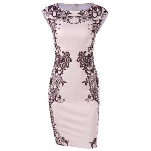 Cap Sleeve Floral Sheath Dress - Shallow Pink - M