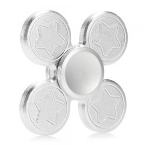 Finger Metal Fidget Spinner Toy with Star Print - SILVER 6.5*6.5CM