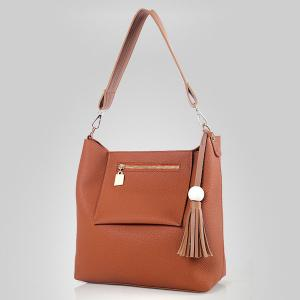 Tassel Wood Ball Shoulder Bag and Crossbody Bag -