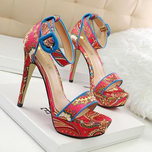 Ankle Wrap Ethnic Platform Stiletto Heel Sandals