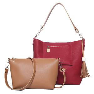Tassel Wood Ball Shoulder Bag and Crossbody Bag - Red