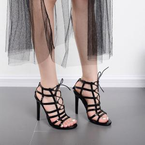 Patent Leather Strappy Sandals - Black - 40