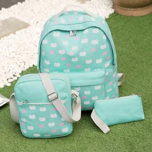 Canvas Cat Print 3 Pieces Backpack Set - GREEN